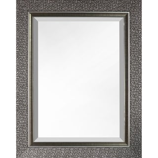 Hobbitholeco Mosaic Silvertone Rectangular Beveled Mirror - Silver