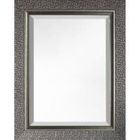 Hobbitholeco, 35x27 inch Mosaic Silvertone Beveled Wall Mirror Vanity Hallway Bathroom Bedroom Rectangle Silver Large Home Décor