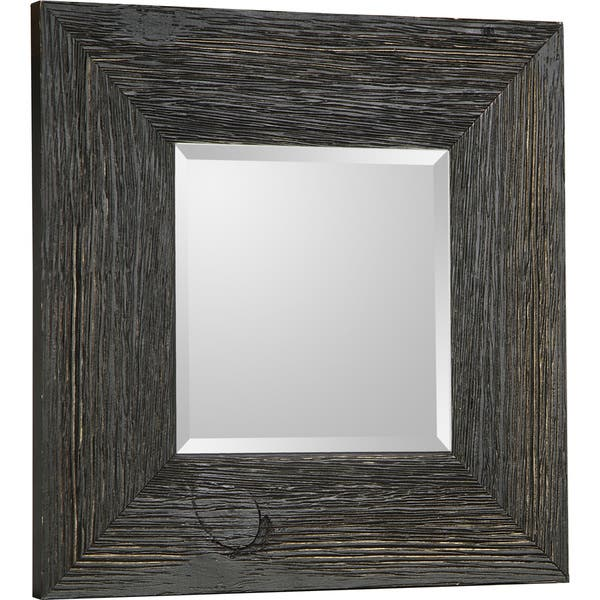 Hobbitholeco Beveled Square Accent Mirror 11X11 (Inner mirror 6X6), Set of  4 - Black