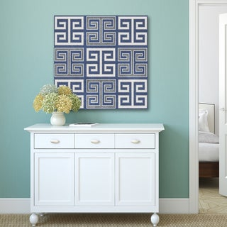 Portfolio Canvas Decor IHD Studio 'Greek Key' Blue/White Canvas Wood Wall Art