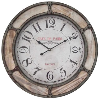 Infinity Instruments Beige Wood/Metal 24-inch Round Wall Clock