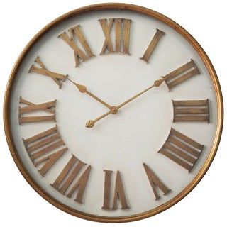 Infinity Instruments White with Gold Roman Numerals 27-inch Wall Clock