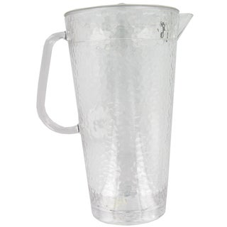 Arrow Plastic 00889 64 Oz Clear Hammered Plastic Pitcher With Lid