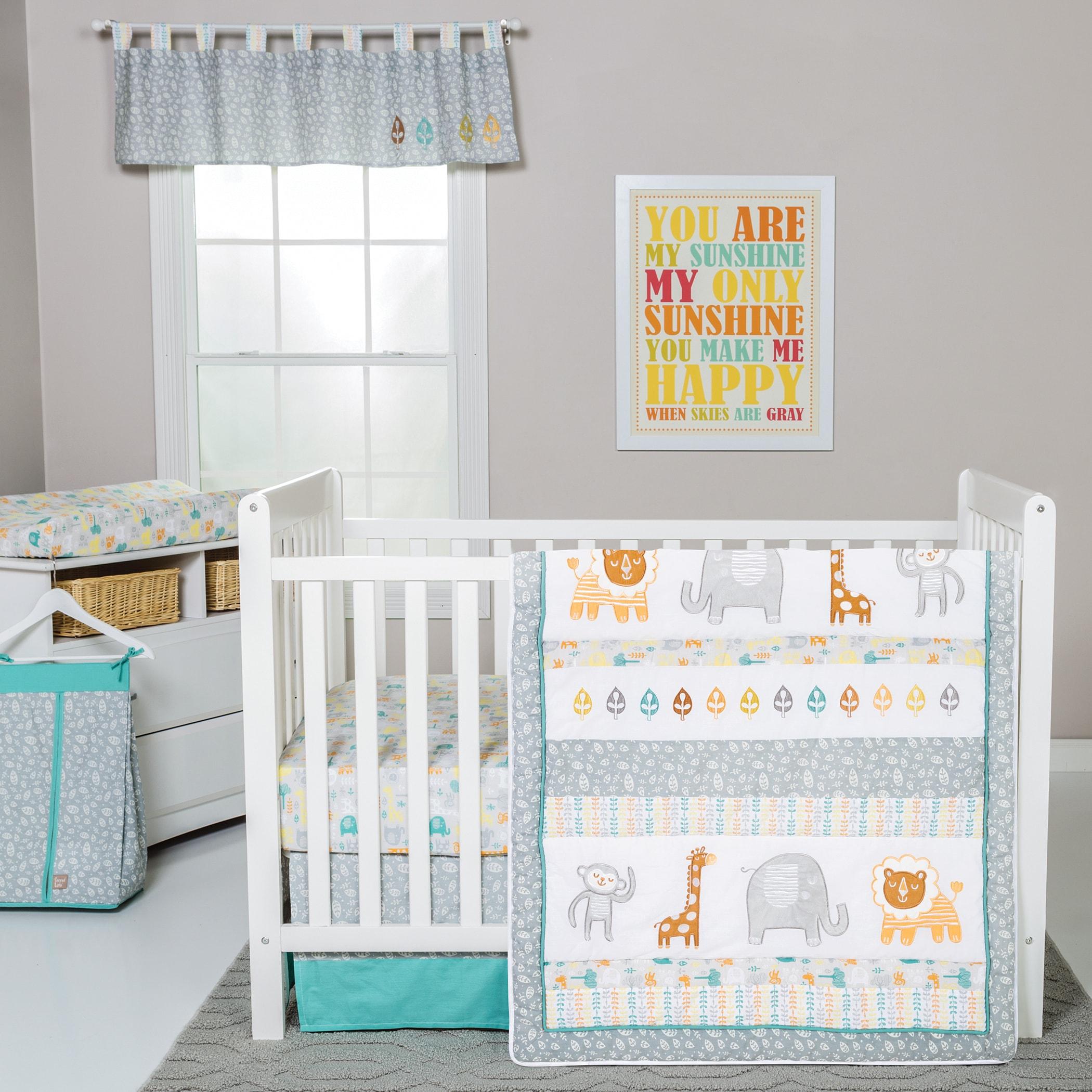 Lullaby Jungle 6 Piece Crib Bedding Set