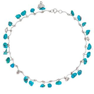 Sterling Silver Turquoise Nugget Anklet