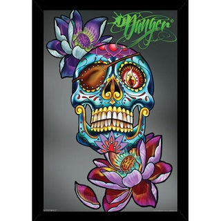 James 'Danger' Harvey 'Jolly Roger' 24-inch x 36-inch Print with Black Contemporary Poster Frame