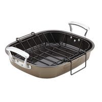 Anolon(r) Nonstick Bakeware 16-Inch x 13-1/2-Inch Roaster with Hanging U-Rack, Pewter/Bronze