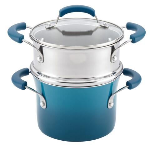 Rachael Ray(r) Nonstick Sauce Pot and Steamer Insert Set, 3-Quart, Marine Blue Gradient
