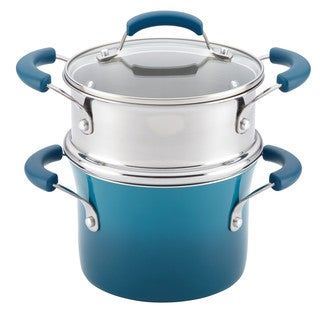Rachael Ray(r) Nonstick Sauce Pot and Steamer Insert Set, 3-Quart, Marine Blue Gradient