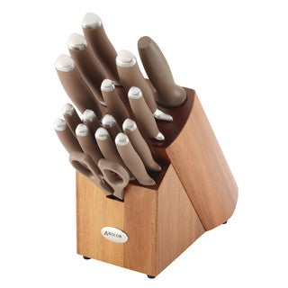 Anolon(r) SureGrip(r) Cutlery 17-Piece Japanese Stainless Steel Knife Block Set, Bronze
