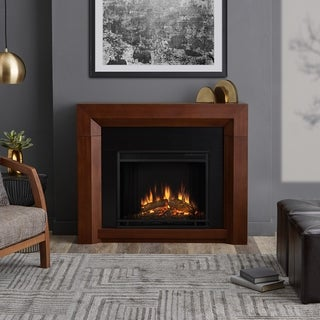 Real Flame Hughes Vintage Black Maple Finish 42 in. L x 11 in. D x 35 in. H Electric Fireplace