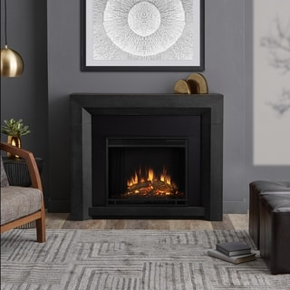 Real Flame Hughes Grey 42 in. L x 11 in. D x 25 in. H Electric Fireplace
