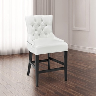 Paris White Faux Leather and Wood Counter-height Chair