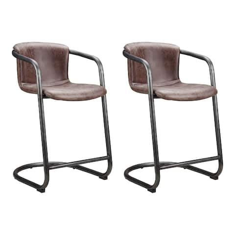 Aurelle Home Rustic Vintage Brown Leather Counter Stool (Set of 2)