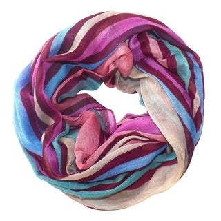 Peach Couture Vibrant Striped Design Fashionable Multicolor Infinity Loop Scarf