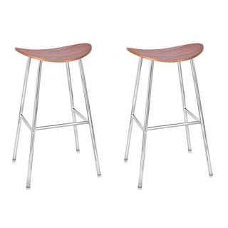 BirdRock Home Espresso-finished Bentwood and Chrome Backless Bar Stool