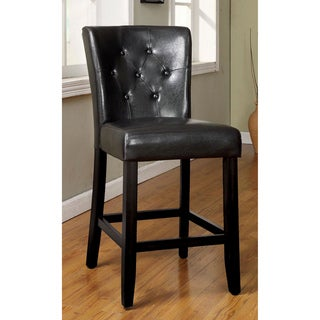 Furniture of America Bellasia Black Tufted Leatherette Counter Height Dining Chair (Set of 2)