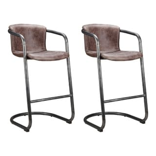 Aurelle Home Mason Rustic and Industrial Bar Stool Brown Leather (Set of 2)