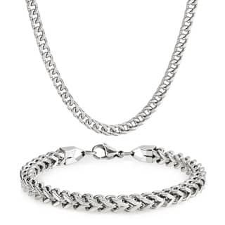 Men's Stainless Steel Franco Chain 8.25-inch Bracelet and 24-inch Necklace Set - 6mm Wide|https://ak1.ostkcdn.com/images/products/12557598/P19358048.jpg?impolicy=medium