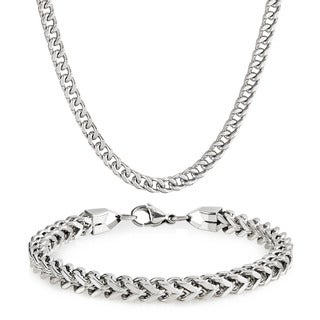 Men's Stainless Steel Franco Chain Bracelet and Necklace Set (6mm) - White