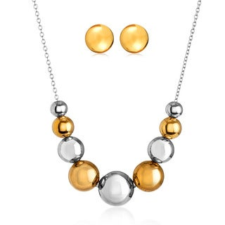 ELYA Two Tone Graduated Bead Cable Chain Necklace and Earring Studs Jewelry Set