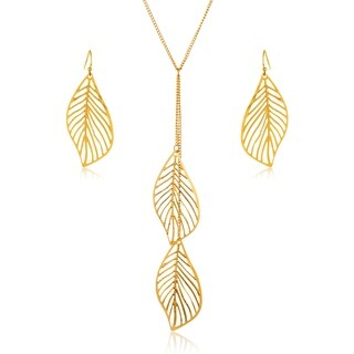 Gold Plated Leaf Drop Necklace and Earrings Jewelry Set