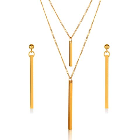 Gold Plated Double Layer Bar Necklace and Earrings Jewelry Set