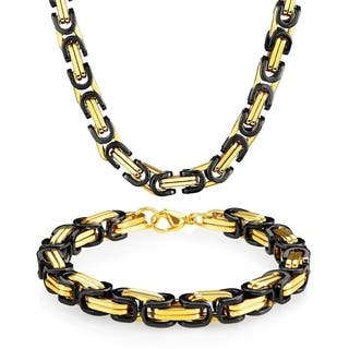 Men's Stainless Steel Byzantine 8.5mm Wide 9-inch Bracelet and 24-inch Necklace Chain Set|https://ak1.ostkcdn.com/images/products/12557616/P19358071.jpg?impolicy=medium