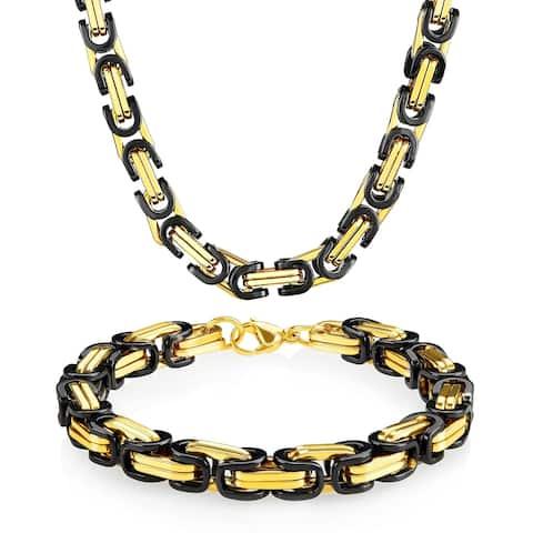 Two Tone Stainless Steel Byzantine Chain Jewelry Set (8.5mm)