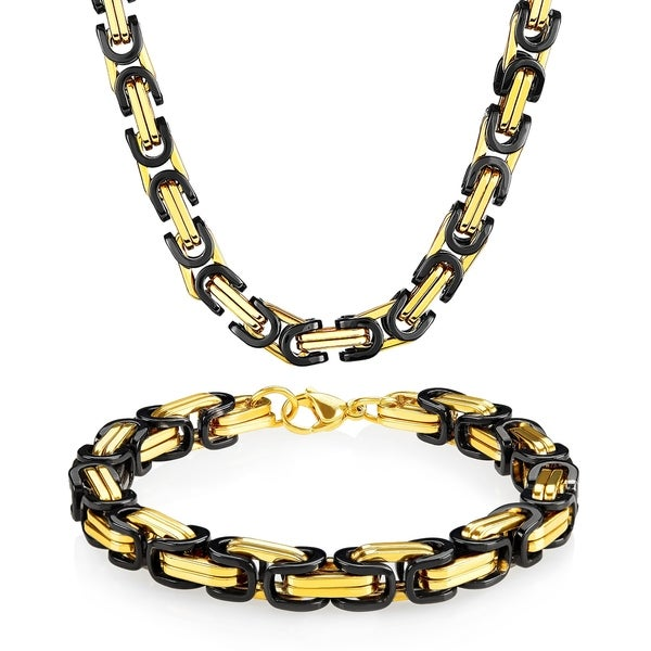 Shop Two Tone Stainless Steel Byzantine Chain Jewelry Set (8 5mm