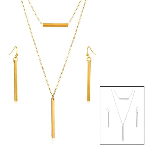 ELYA Double Layer Bar Necklace and Earrings Jewelry Set