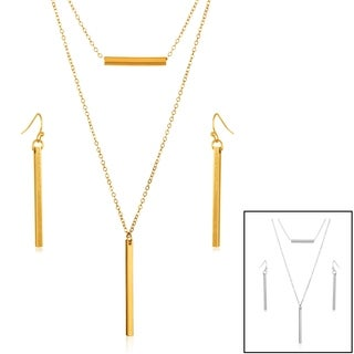 High Polish Double Layer Bar Necklace and Earrings Jewelry Set