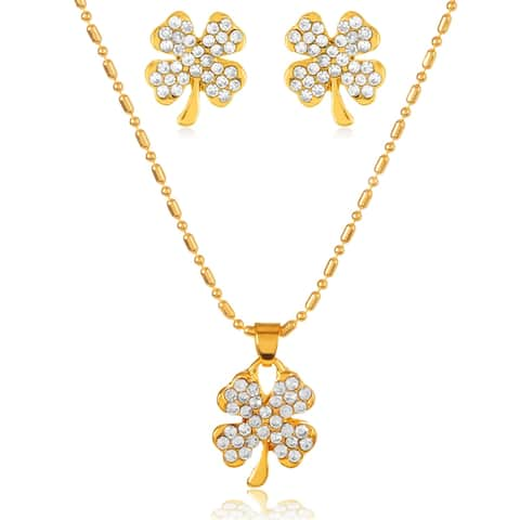 Gold Plated Crystal Clover Necklace and Earrings Jewelry Set
