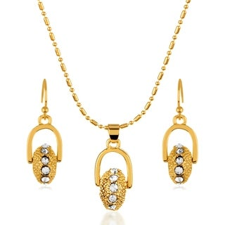 Gold Plated Horseshoe Wheel Bead Necklace and Earrings Jewelry Set