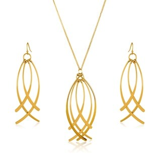 Gold Plated Curved Dangles Necklace and Earrings Jewelry Set