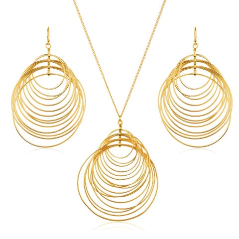 Gold Plated Crescent Circles Necklace and Earrings Jewelry Set