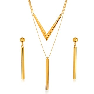 Gold Plated Cylinder Bar Charm Necklace and Earrings Jewelry Set