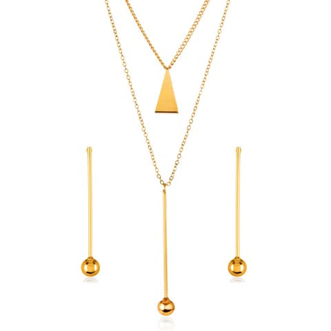 Gold Plated Bar Ball Drop Charm Necklace and Earrings Jewelry Set