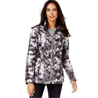 Laundry by Shelli Segal Women's Reversible Floral/Black Down Puffer Jacket