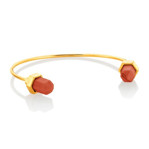 Polished Gold Plated Faux Coral Cuff Bracelet - Orange