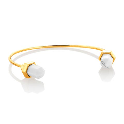 Polished Gold Plated Faux Howlite Cuff Bracelet - White