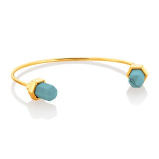 Faux Turquoise Open Tipped Bangle Gold Plated Bracelet
