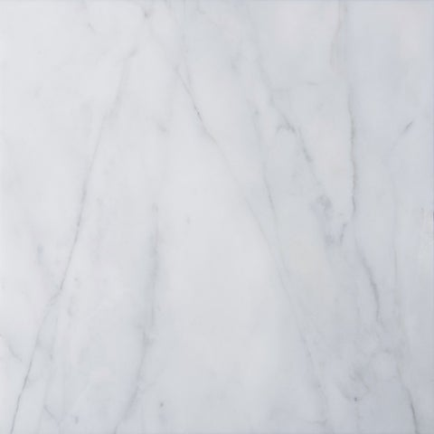 italian Carrara Venato White and Grey Marble 12-inch Square Polished Beveled Tiles