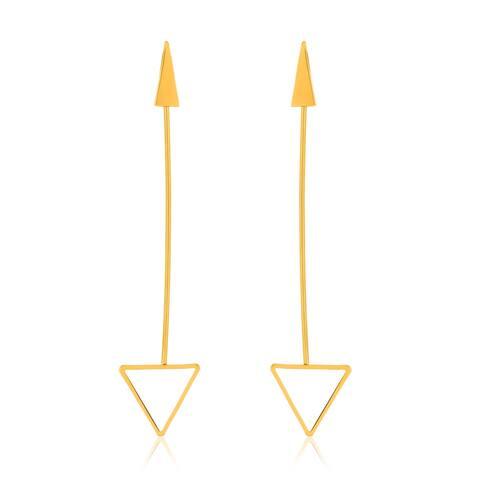 Gold Plated Polished Arrow Dangle Earrings