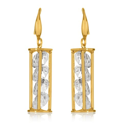 Gold Plated Caged Crystals Dangle Earrings