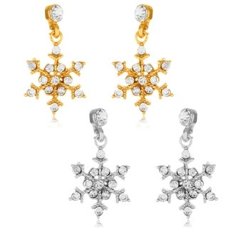Polished Crystal Snowflakes Dangle Earrings - White