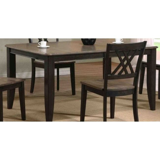 Iconic Furniture Company 2 Tone Antique Grey Stone Black Rubberwood 36 X 52 67 Inch Contemporary Leg Dining Table