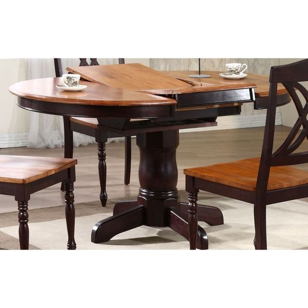 Iconic Furniture 5-piece Whiskey Mocha Double X-Back Round Dining Set