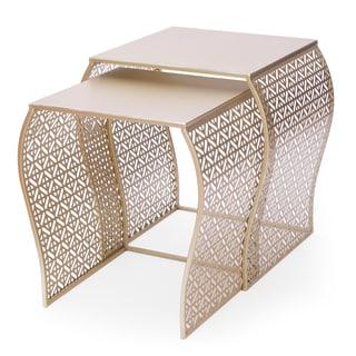 Adeco Goldtone Metal Luxury Nesting Side Table (Set of 2)