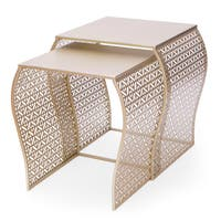 Goldtone Metal Luxury Nesting Side Table (Set of 2)